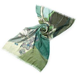 S-WFPA0002_0061_GREEN フラワーモチーフ 薄手ウール・シルク プリント&アリー手刺繍ストール