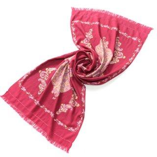S-WA2241_0255_ROSE ペーズリーモチーフ ウール100%アリー手刺繍ストール