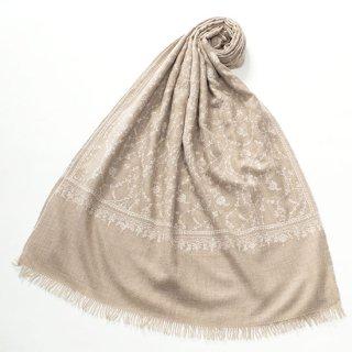 S-PN0800_0159_BEIGE/WHITE 【★15周年特別企画★対象商品】手織り カシミヤ ニードル手刺繍ショール