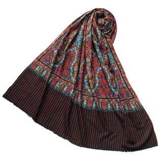 S-PN0545_0231_BLACK 【★15周年特別企画★対象商品】手織り カシミヤ ニードル手刺繍ショール