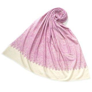 S-PN0512_0289_WHITE/PINK 手織り カシミヤ ニードル手刺繍ショール