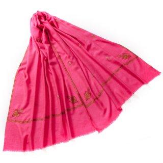 S-PN0994_0034_FUSIA PINK 手織り カシミヤ ニードル手刺繍ショール