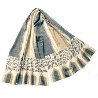 S-PN0974_0153_DARK BEIGE 手織り カシミヤ ニードル手刺繍ショール