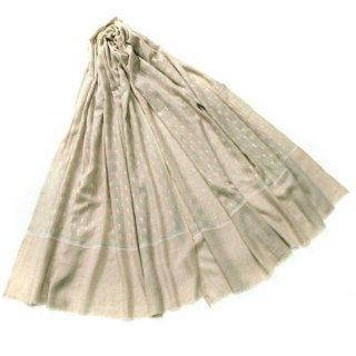 S-PN0979_0153_DARK BEIGE 手織り カシミヤ ニードル手刺繍ショール