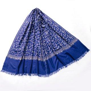 S-PN0684_0001_BLUE 【★15周年特別企画★対象商品】手織り カシミヤ ニードル手刺繍ショール