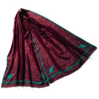 S-PN0992_0123_DARK PURPLE 手織り カシミヤ ニードル手刺繍ショール