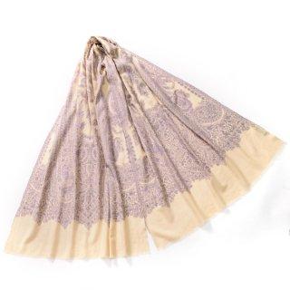 S-PN0398_0272_OFF WHITE 手織り カシミヤ ニードル手刺繍ショール