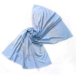 S-PN0921_0002_LIGHT BLUE 手織り カシミヤ ニードル手刺繍ショール