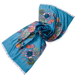 S-WTA0980_0001_BLUE カタログ掲載【FLOWER MERRY GO ROUND】関連商品 薄手ウール・シルク アリー手刺繍ストール