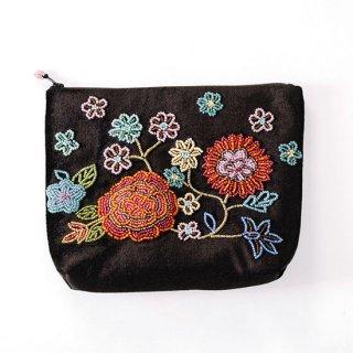 B-LT0331_0231_BLACK フラワーモチーフ ビーズ刺繍ポーチ
