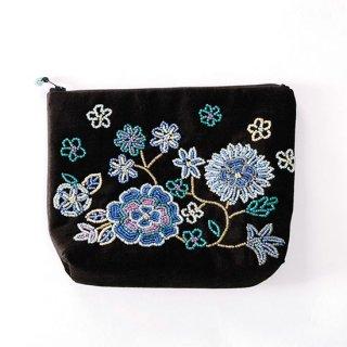 B-LT0331_0233_BLACK/BLUE フラワーモチーフ ビーズ刺繍ポーチ