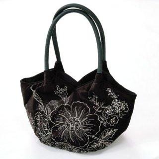 B-LT0332_0231_BLACK フラワーモチーフ ラメ糸マシン刺繍バッグ