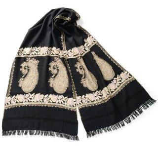 S-WAN0007S_1504_OFF BLACK ペイズリー&フラワー ウール ニードル&アリー手刺繍マフラー