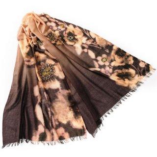 S-WTPA0031_0212_LIGHT BROWN ウール・シルク プリント&アリー手刺繍ストール