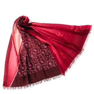 S-WTPAN0001_0253_DARK RED 薄手ウール&シルク プリント・アリー・ニードル手刺繍ストール