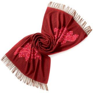 S-PA0074_0253_DARK RED 厚手カシミヤストール アリー手刺繍
