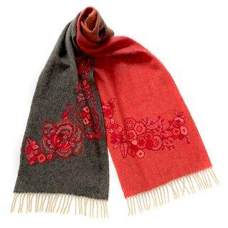 SI-WA0003_0117_GRAY/RED フラワ-モチーフ ドイツ製厚手ウール アリー手刺繍マフラー