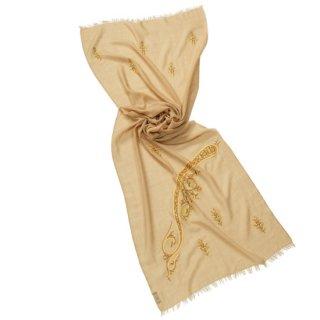 S-WTA1501_0153_DARK BEIGE 薄手ウール・シルク ペイズリー柄 アリー手刺繍ストール