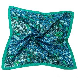 S-SP0124T_0001_BLUE シルク ツイル織 プリントスカーフ 75x75�
