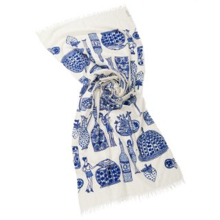 S-WTA5004_0288_WHITE/BLUE 【PARTY】薄手ウール・シルク パーティ柄 アリー手刺繍ストール