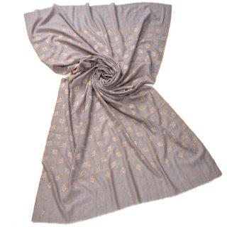 S-PN1036_0092_LIGHT GRAY 【Kashmir Cashmere】手織り カシミヤ ニードル手刺繍ショール
