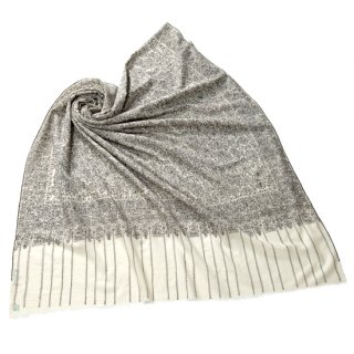 【30%OFF】S-PN0508_0271_WHITE【Kashmir Cashmere】手織り カシミヤ ニードル手刺繍ショール【PREMIUM】