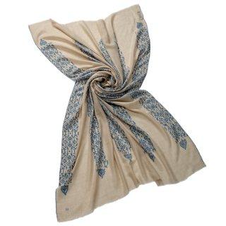 S-PN0926_0272_OFF WHITE 【Kashmir Cashmere】手織り カシミヤ ニードル手刺繍ショール