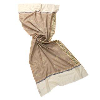 【30%OFF】S-PAN2000_0153_DARK BEIGE【PREMIUM】手織りカシミヤ ニードル手刺繍ストール