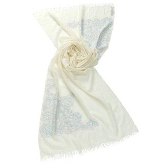 S-WTA2518_0271_WHITE 小花柄 薄手ウール・シルク アリー手刺繍ストール