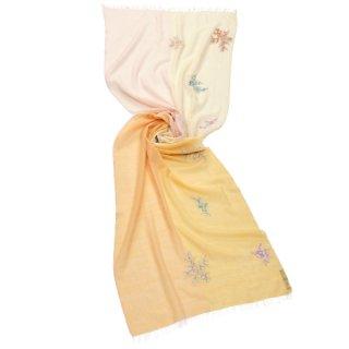 S-WTA2030_0615_CREAM/LIGHT ORANGE 薄手ウール・シルク フラワーモチーフ アリー手刺繍