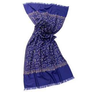 【30%OFF】S-PN0684_0001_BLUE 手織り カシミヤ ニードル手刺繍ショール