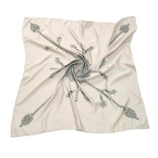 S-SN5012_0161_SAND BEIGE シルク ニードル手刺繍スカーフ スクエアー