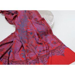【30%OFF】S-PN0636_0253_DARK RED 【PREMIUM】手織り カシミヤ ニードル手刺繍ショール