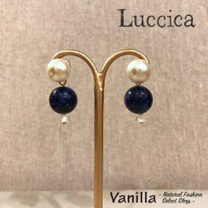 Luccica Farbe ファルベ 箔入りビーズとパールのピアス