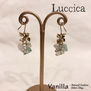 Luccica Farbe ファルベ 天然石とお花モチーフのピアス