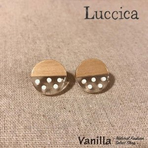 Luccica Farbe ファルベ ウッドxドットの丸ピアス