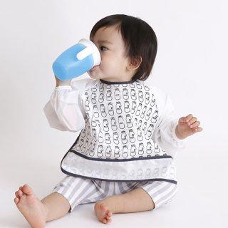 長袖エプロン ミルク瓶柄