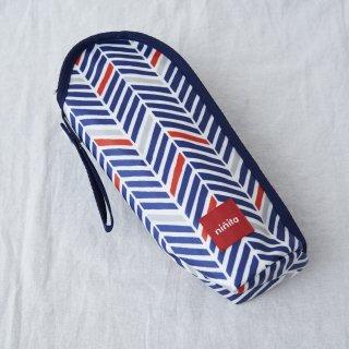 【Redline】哺乳瓶ケース オックス幾何ヘリンボン柄ネイビー