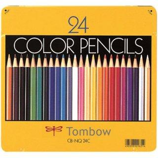 トンボ鉛筆 色鉛筆 24色 缶入 CB-NQ24C
