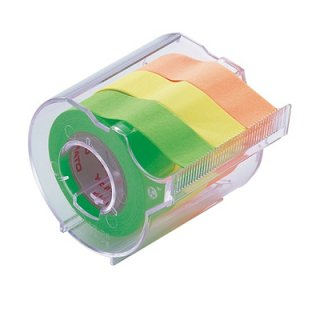 ヤマト メモックロールテープカッター付 3巻入り 15mm×10mライム・レモン・オレンジ