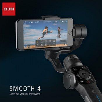 Zhiyun Smooth 4 モバイル用電動スタビライザー ブラック 3軸 ブラシレスジンバル フォローフォーカス機能付(1年保証)