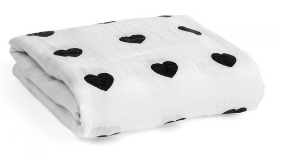 Modern Burlap モダンバーラップ Organic Cotton Muslin Swaddle Blanket-Heart ハート