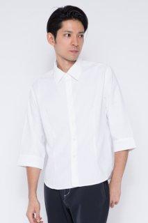 198イタリアンカラー スリムシャツ七分袖 メンズ