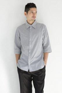 218ジッパーシャツ七分袖 ストライプ メンズ