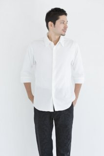 ニット イタリアンカラー スリムシャツ 七分袖メンズ