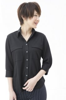 デザインポケットシャツ七分袖 レディース