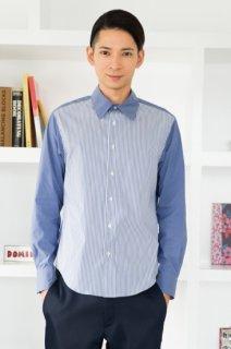 シャンブレー&ストライプシャツ メンズ