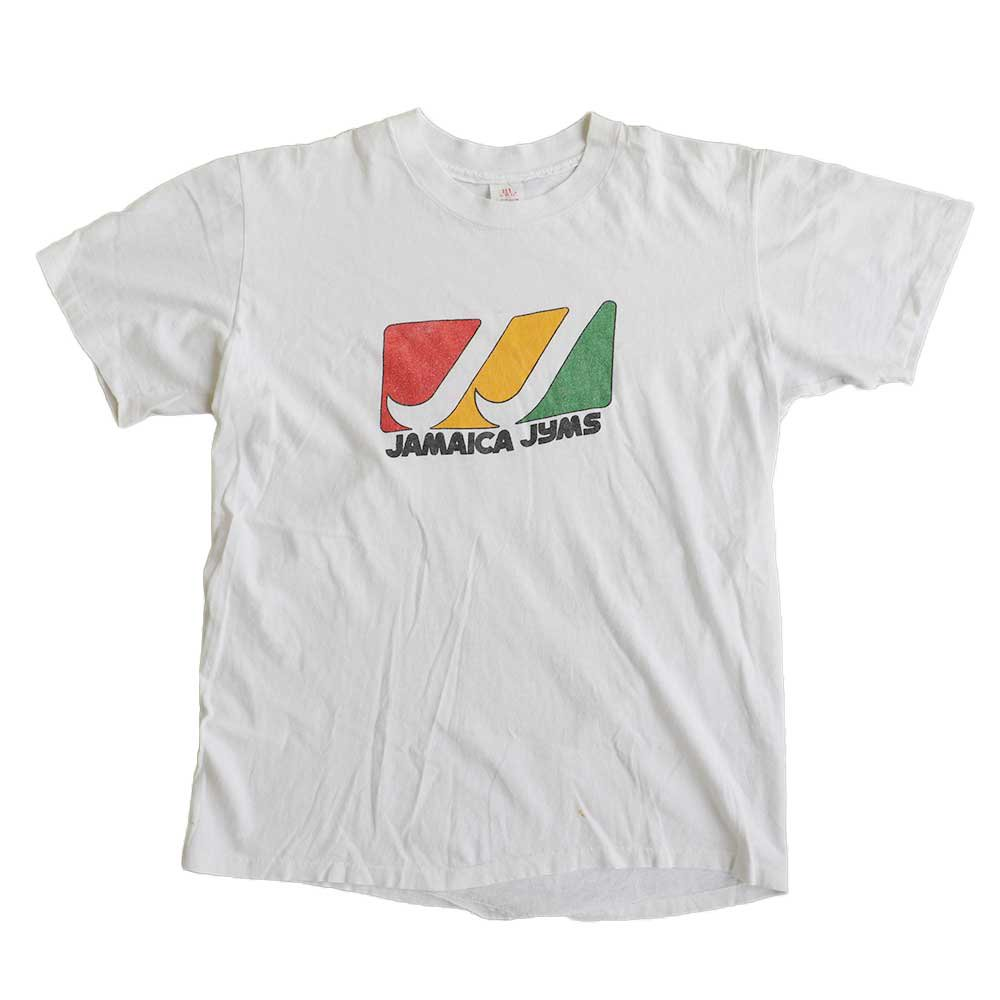 w-means(ダブルミーンズ) JAMAICA JYMS  半袖Tシャツ 100%コットン アメリカ製  表記L しろ 詳細画像