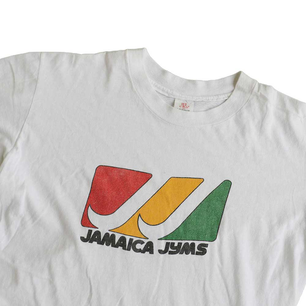 w-means(ダブルミーンズ) JAMAICA JYMS  半袖Tシャツ 100%コットン アメリカ製  表記L しろ 詳細画像1