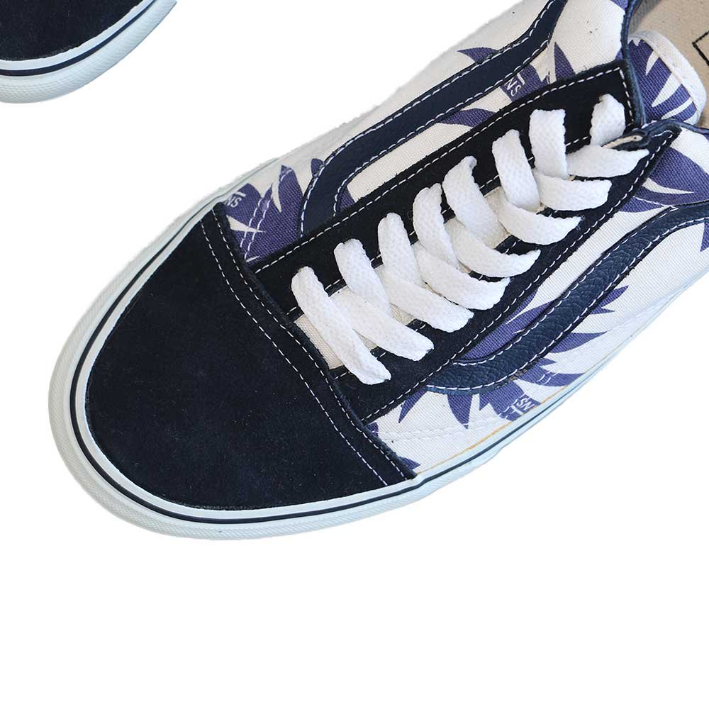 w-means(ダブルミーンズ) VANS Old Skool(Vulcanized)表記10.5 Navy/Wht w/Nvy Palm Leaf J80 詳細画像3